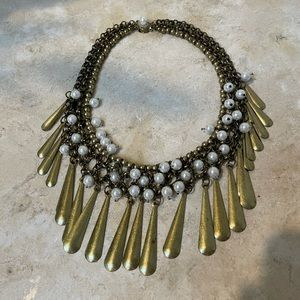 Choker length statement necklace w/ faux pearls